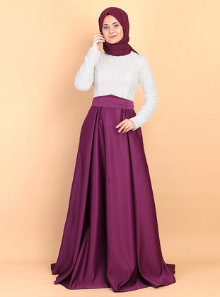 Plum - Fully Lined - Crew neck - Satin - Muslim Evening Dress
