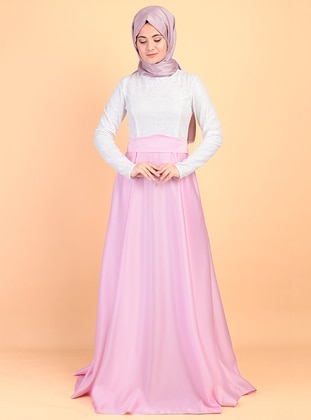 Pink - Fully Lined - Crew neck - Satin - Muslim Evening Dress