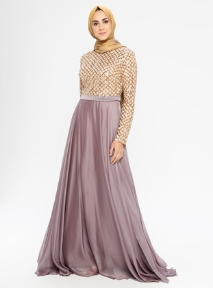 Lilac - Fully Lined - Crew neck -  - Muslim Evening Dress