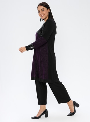 Plum - Crew neck - Unlined - Viscose - Plus Size Suit