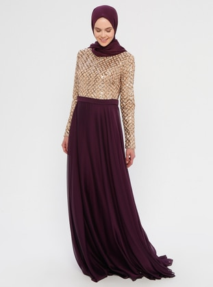 Plum - Fully Lined - Crew neck -  - Muslim Evening Dress