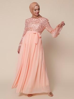 Salmon - Fully Lined - Crew neck -  - Muslim Evening Dress