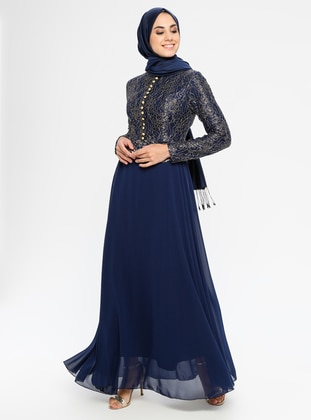 Navy Blue - Fully Lined - Crew neck -  - Muslim Evening Dress