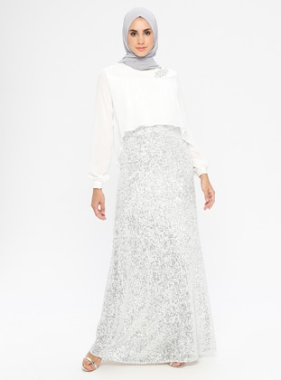 White - Fully Lined - Crew neck -  - Muslim Evening Dress