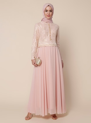 Powder - Fully Lined - Crew neck -  - Muslim Evening Dress