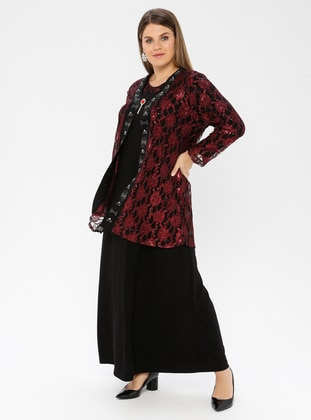 Maroon - Unlined - Crew neck - Viscose - Muslim Plus Size Evening Dress