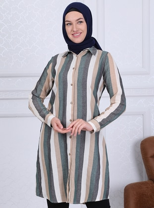 Black - Green - Stripe - Point Collar - Tunic