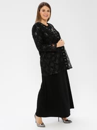 Black - Unlined - Crew neck - Viscose - Muslim Plus Size Evening Dress