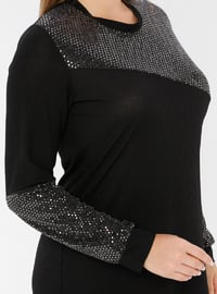 Gold - Black - Crew neck - Unlined - Viscose - Plus Size Suit