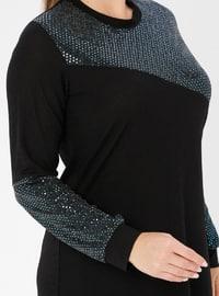 Turquoise - Crew neck - Unlined - Viscose - Plus Size Suit