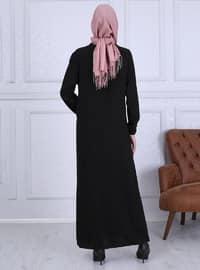 Siyah - Astarsız kumaş - Yuvarlak yakalı - - Ferace