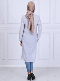 Baby Blue - Stripe - Point Collar - Tunic