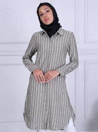 Khaki - Stripe - Point Collar - Tunic