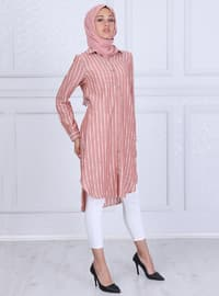 Terra Cotta - Stripe - Point Collar - Tunic