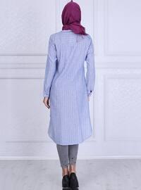 Blue - Stripe - Point Collar - Tunic