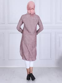 Plum - Stripe - Point Collar - Tunic