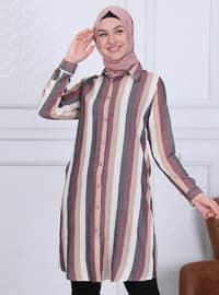Plum - Black - Stripe - Point Collar - Tunic