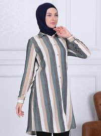 Black - Green - Stripe - Point Collar - Tunic
