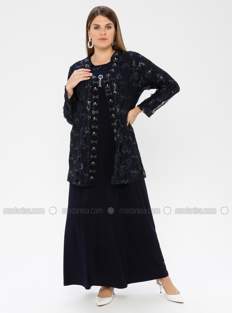 Navy Blue - Unlined - Crew neck - Viscose - Muslim Plus Size Evening Dress