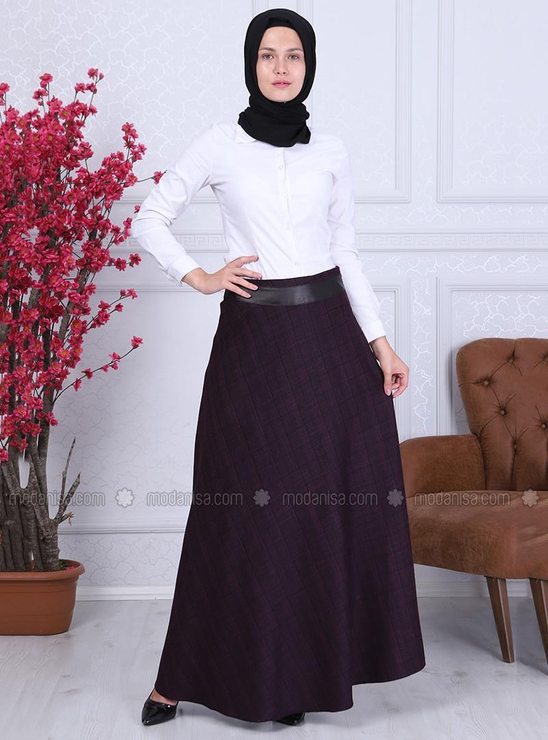 Fuchsia - Checkered - Fully Lined - Skirt