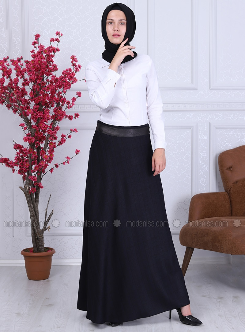 Navy Blue - Checkered - Fully Lined - Skirt