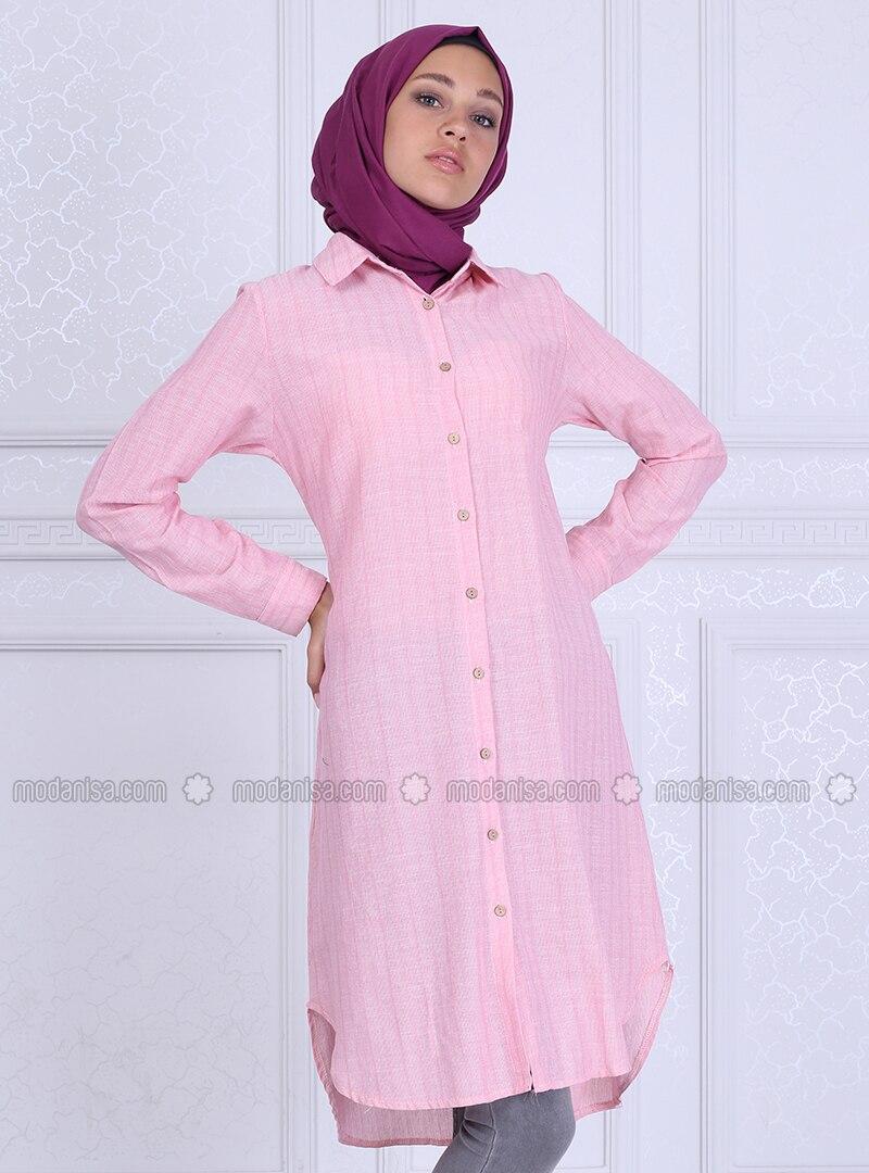 Pink - Stripe - Point Collar - Tunic