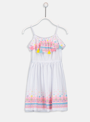 Printed - White - Girls` Dress