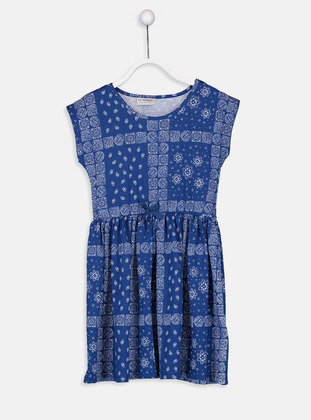 Printed - Navy Blue - Girls` Dress