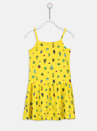 Printed - Yellow - Girls` Dress