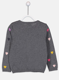 Crew neck - Printed - Anthracite - Girls` Pullovers