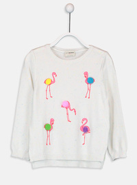 Crew neck - Ecru - Girls` Pullovers
