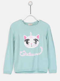 Printed - Crew neck - Green - Girls` Pullovers