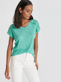 V neck Collar - Green - T-Shirt