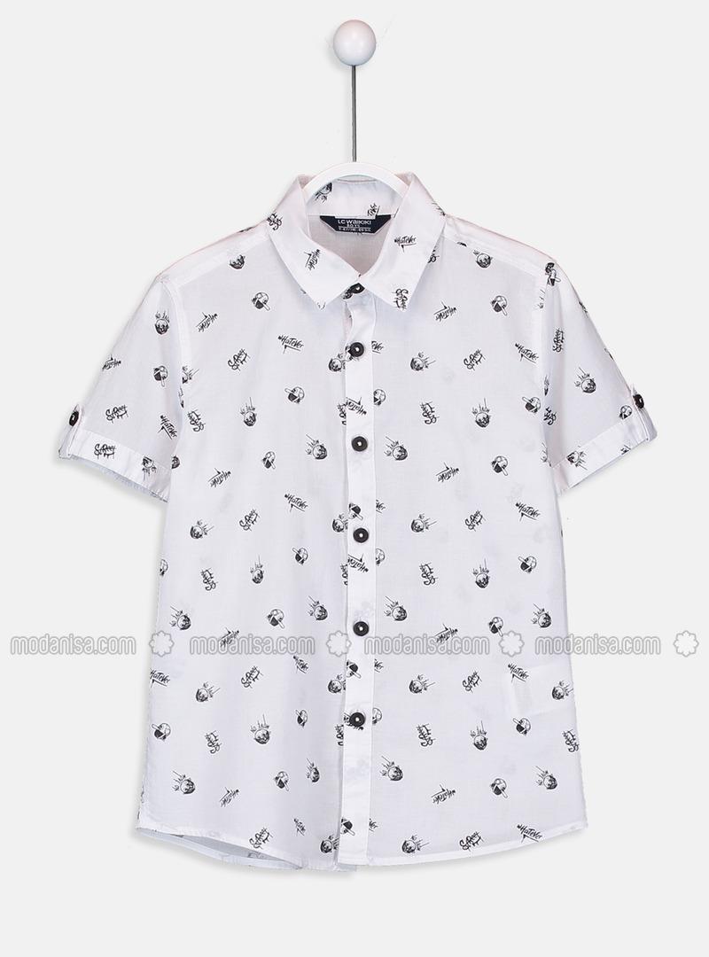 Printed - Gray - Boys` Shirt