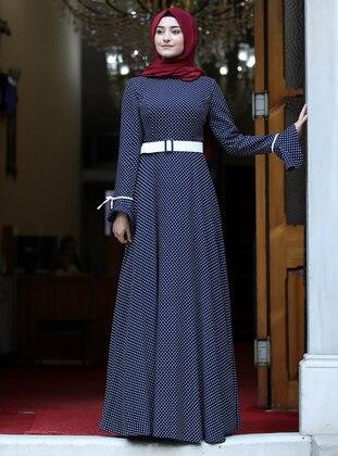 Navy Blue - Polka Dot - Crew neck - Fully Lined - Dress