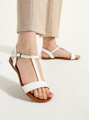 White - Ecru - Flat - Sandal - Flat Shoes