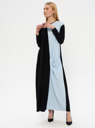 Blue - Crew neck - Unlined - Dress