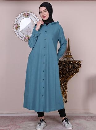 Blue - Unlined - Crew neck -  - Abaya
