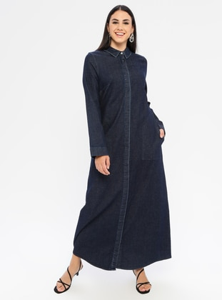 Navy Blue - Point Collar - Unlined - Denim - Dress