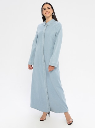 Blue - Point Collar - Unlined - Denim - Dress