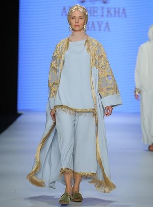 Blue - Unlined - V neck Collar - Abaya