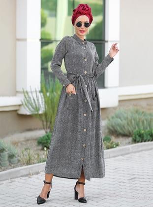 Black - Point Collar - Unlined - Cotton - Dress
