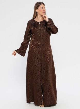 Brown - Multi - Unlined - Crew neck - Abaya