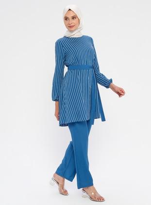 Blue - Navy Blue - Indigo - Stripe - Unlined - Suit