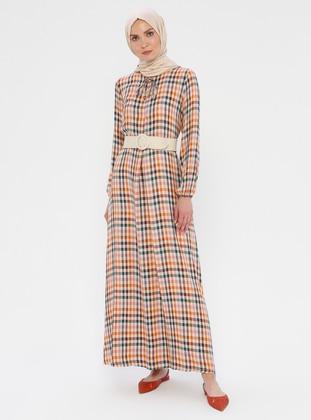 Beige - Plaid - Unlined - Viscose - Dress
