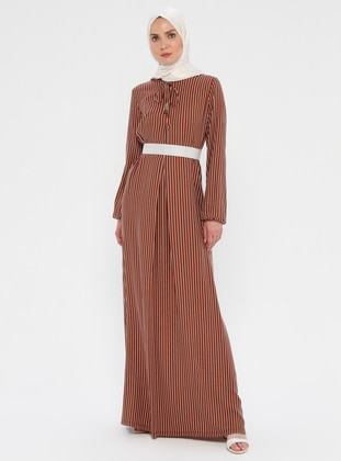 6699235c6 White - Brown - Stripe - Crew neck - Unlined - Viscose - Dress