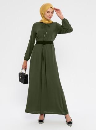 Khaki - Unlined - Viscose - Dress