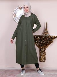 Khaki - Crew neck -  - Abaya