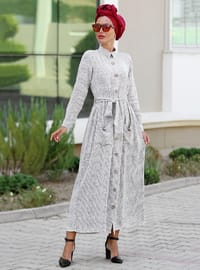 White - Point Collar - Unlined - Cotton - Dress
