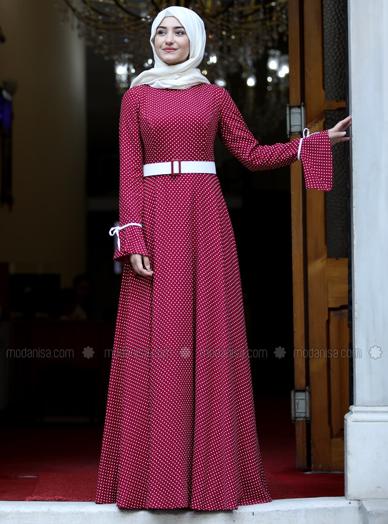 Red - Polka Dot - Crew neck - Fully Lined - Dress